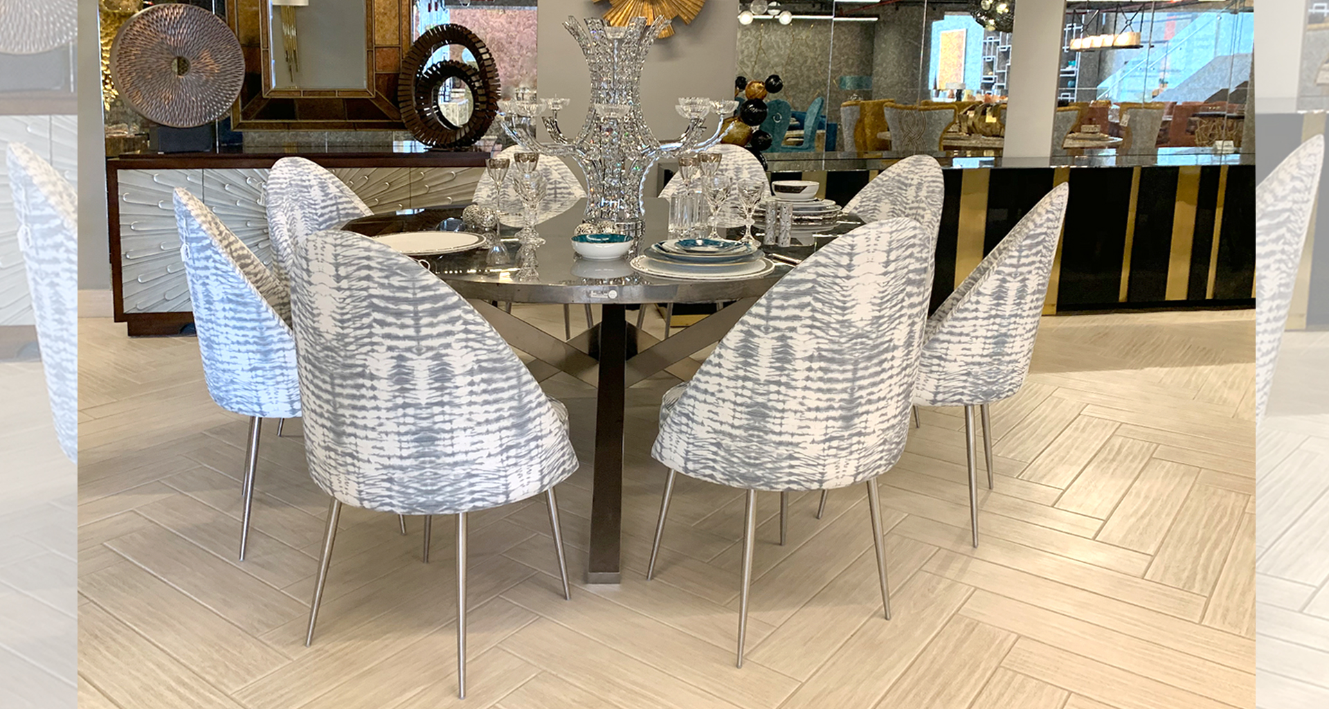Manahil Decoration, Silver Dining Room Ideas